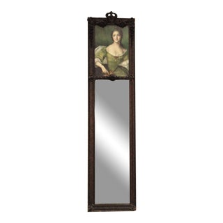 19th C. French Victorian Trumeau Wall Mirror Two Part W/ Print Antique For Sale