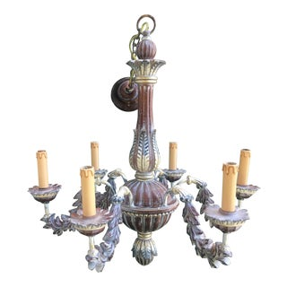 Italian 6-Light Wooden Chandelier For Sale