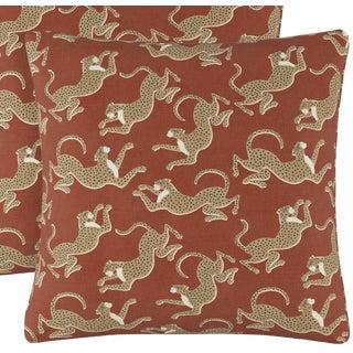 "Leopard Run Burnt Orange Pillows, 20"" X 20"""