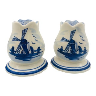 Vintage Blue & White Delft Windmill Salt & Pepper Shakers- a Pair For Sale