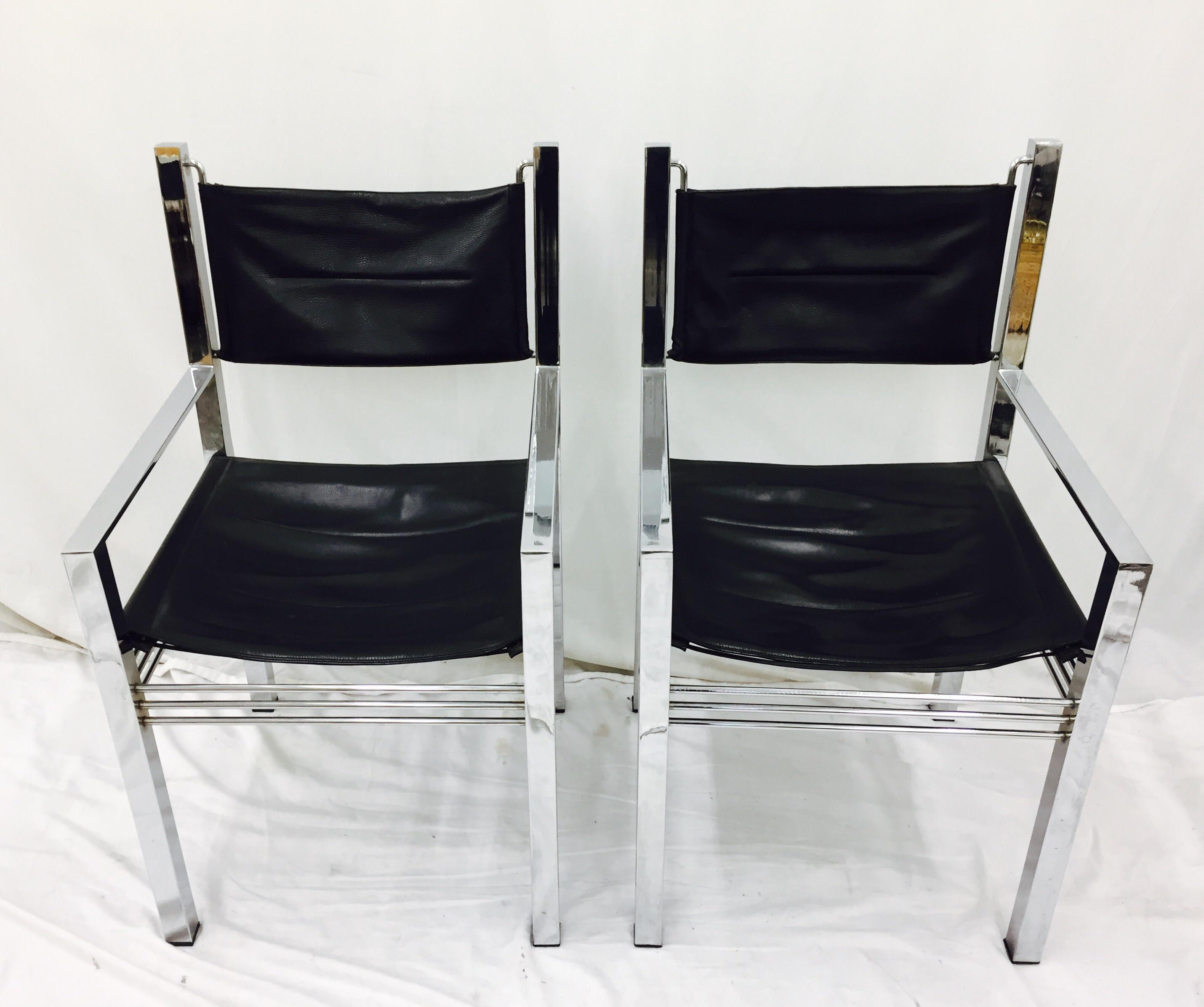 Vintage Mid Century Modern Chrome U0026 Leather Arm Chairs   A Pair   Image 2