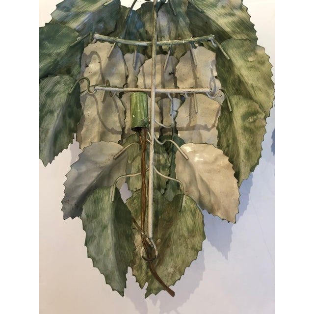 Metal Leaf Motif Green Tole Wall Sconces- a Pair For Sale - Image 7 of 9