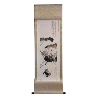 Chinese Print Ink Brush Lotus Scroll Painting Wall Art For Sale