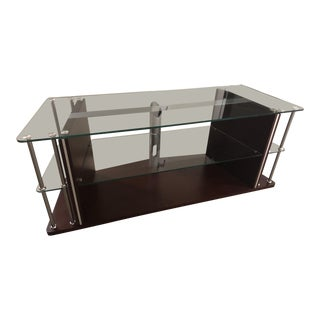 Double Shelf Glass Console Media Table For Sale