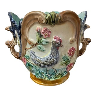 19th Century French Majolica Planter For Sale