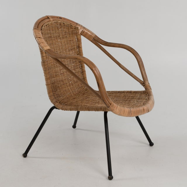 1960s Mid Century Boho Bamboo Rattan Hoop Chair For Sale - Image 5 of 13