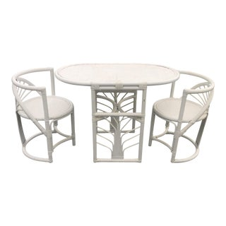 Vintage White Wicker Rattan Table Chair Bistro Set
