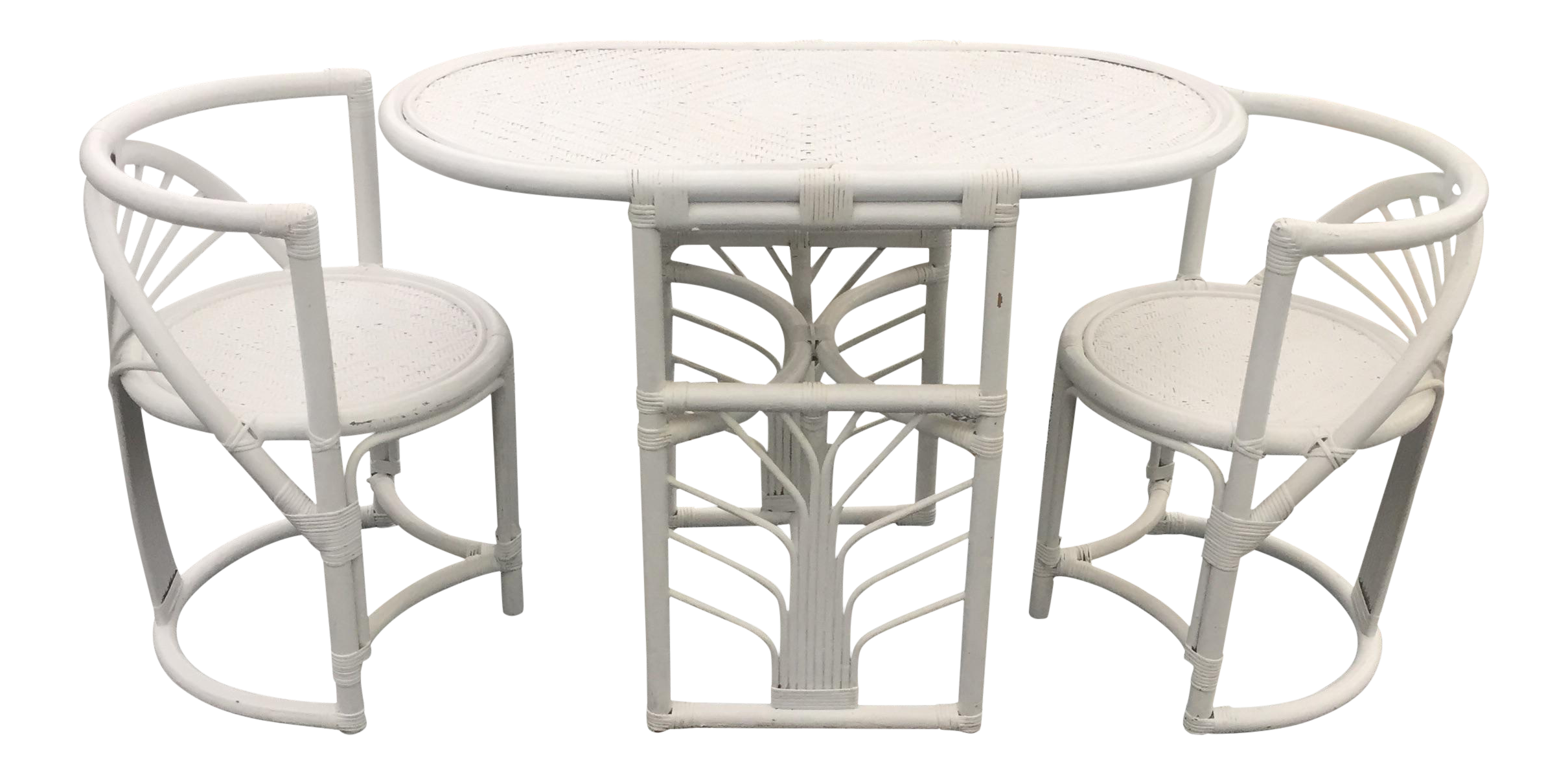 Vintage White Wicker Rattan Table Chair Bistro Set