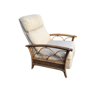 Mid-Century Modern Reclining Rattan Lounge Chair