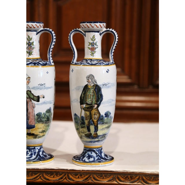 19th Century French Hand-Painted Brittany Vases Signed HB Quimper - a Pair For Sale - Image 9 of 13