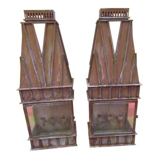 Vintage Copper Candle Wall Sconces - A Pair