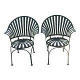 Image of Vintage Francois Carre Style Sunburst Spring Chairs - a Pair For Sale