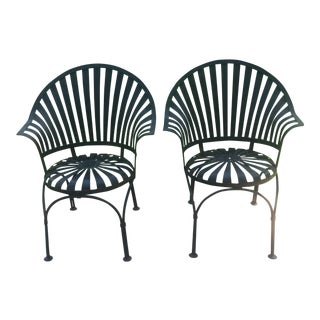 Vintage Francois Carre Style Sunburst Spring Chairs - a Pair For Sale