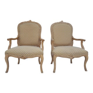 Vintage Hollywood Regency Faux- Bois Arm Accent / Club Chairs A Pair.