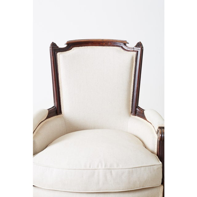 Linen Pair of Maison Jansen Louis XVI Style Walnut Bergères For Sale - Image 7 of 13