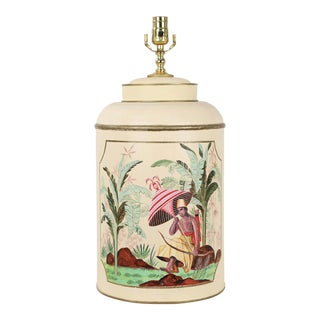 Mid-Century Modern Tole English Export Tea Caddy Lamp For Sale