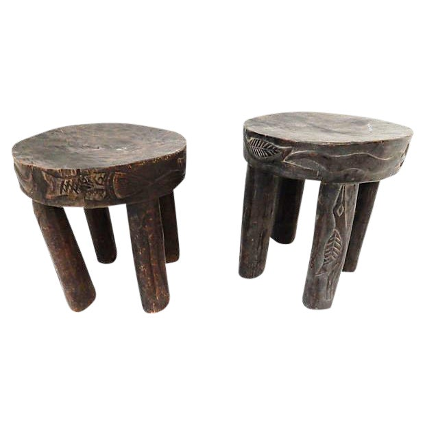 Hehe Gogo Tanzania Milk Stools - A Pair For Sale