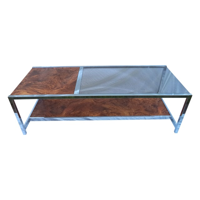 Mid-Century Chrome & Burl Coffee Table - Image 1 of 6