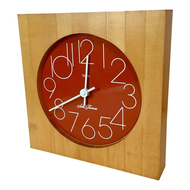 Vintage Enamel Butcher Block Seth Thomas Clock For Sale