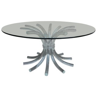 Lucite and Glass Wheat Sheaf Coffee Table