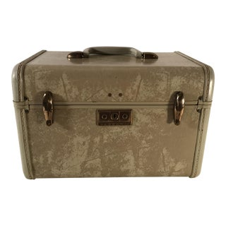 Vintage Samsonite Blonde Marbled Leather Train Case With Key For Sale