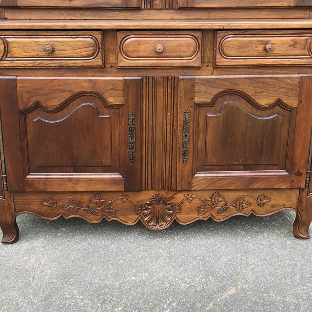 Ceramic 19th Century Country French Fruitwood Buffet a Deux Corps For Sale - Image 7 of 13
