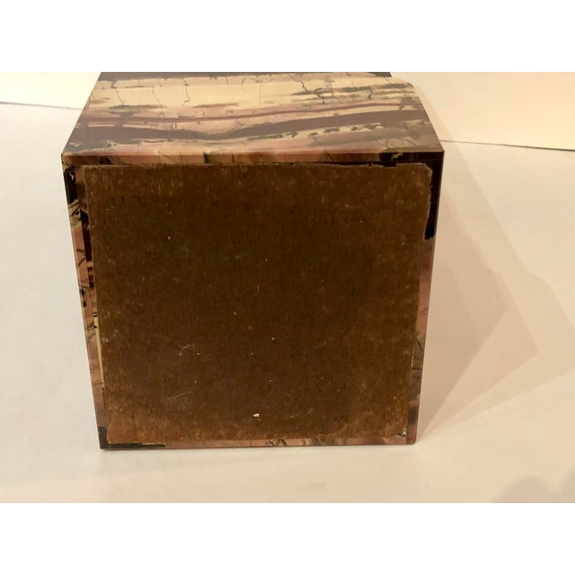 Red Unusual Rectangular Carved Agate Vase For Sale - Image 8 of 11