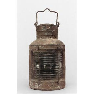 Americana 19th Century American Country style iron and glass half round ships embarkment lantern For Sale - Image 3 of 3