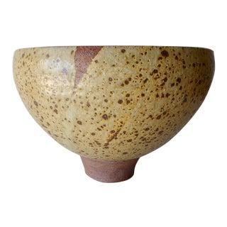 Large Vintage Studio Ceramic Bowl With Speckled Glaze For Sale