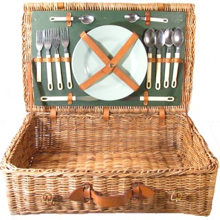 Vintage Dinnerware And Cutlery Picnic Basket Set