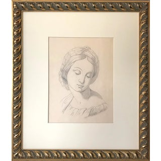 19th Century Antique Graphite Drawing of a Renaissance Style Woman For Sale