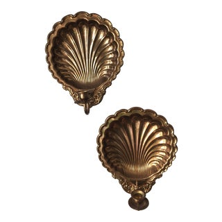 Brass Nautical Shell Sconces - a Pair For Sale