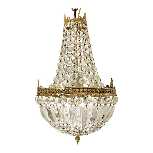Antique French Crystal and Bronze Fixture, Circa 1920-1930. For Sale