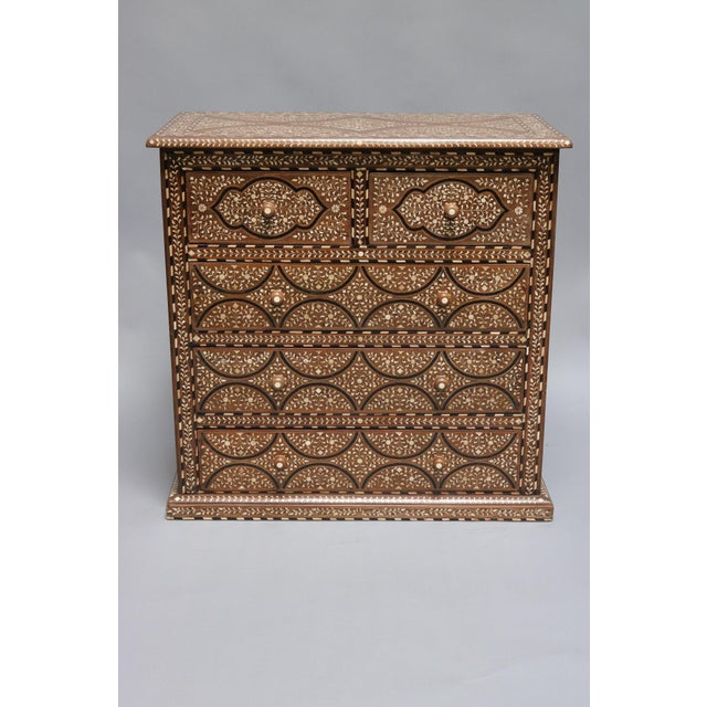 Wood Teak Wood and Bone Inlay Chest of Drawers For Sale - Image 7 of 7