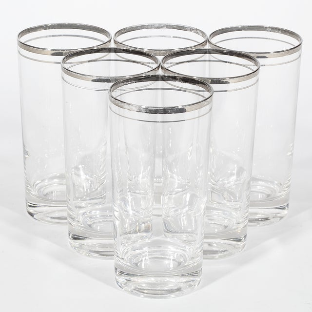 60's Double Banded Silver Tumblers - Set of 6 - Image 3 of 4