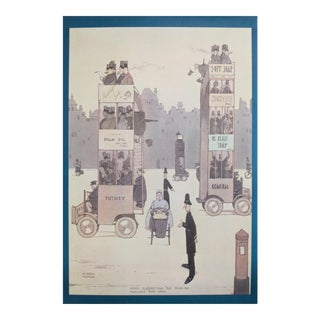 1974 Original British Illustration Poster, William Heath Robinson, Some Suggestions for Doubling Available Road Space For Sale