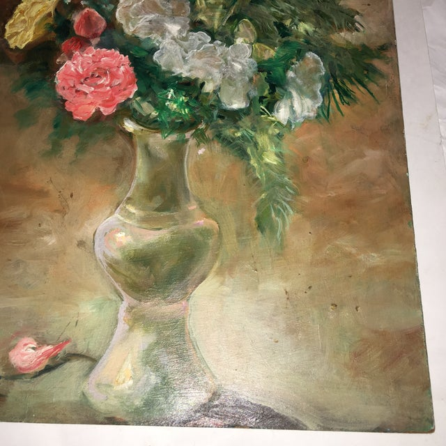 Flower Vase Oil Painting on Board For Sale In New York - Image 6 of 9