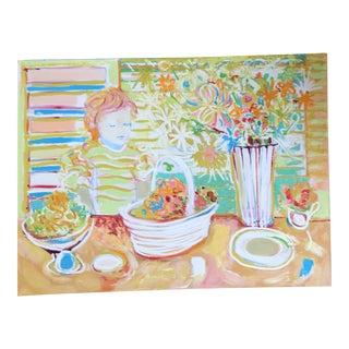 Original Vintage Impressionist Bright Still Life Interior For Sale