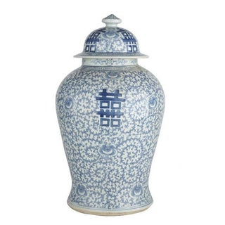 Chinoiserie Blue & White Porcelain Double Happiness Temple Jar Preview