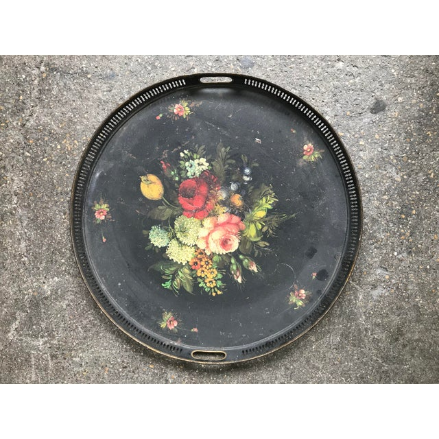 Mid 19th Century 19th Century French Floral Tray For Sale - Image 5 of 5