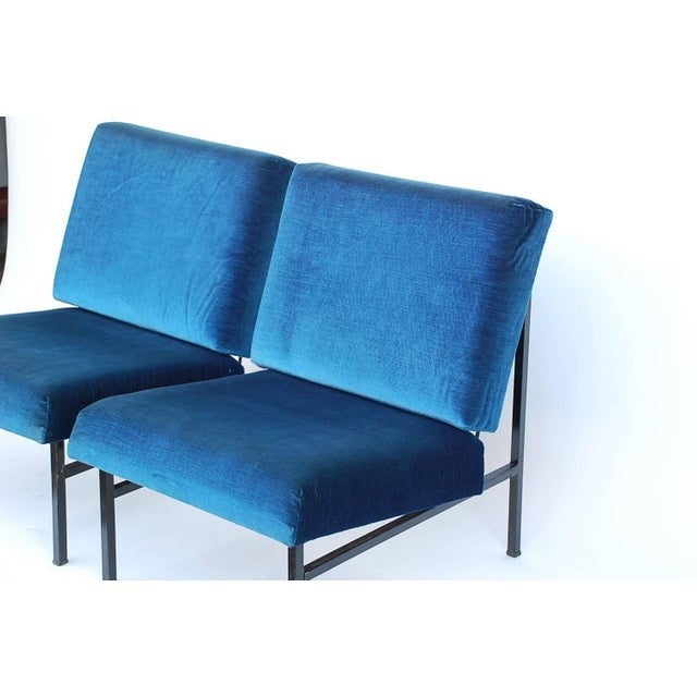 Metal Pair of 'Déclive' Velvet and Blackened Steel Slipper Chairs by Design Frères For Sale - Image 7 of 9
