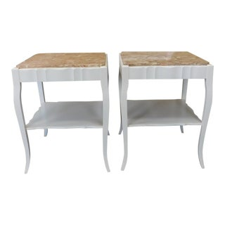 Painted White Provincial Marble Top Living Room End Tables - A Pair For Sale