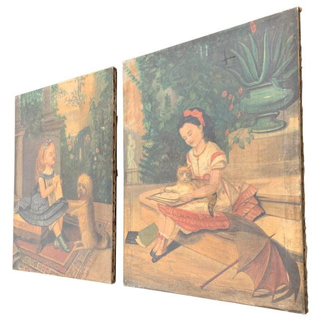 """Folk Art 19th CenturyFolk Art Paintings, """"Learning to Read and to Write"""" With a Dog and a Cat - a Pair For Sale - Image 3 of 13"""