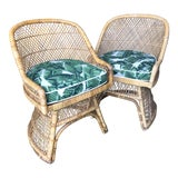 Image of Vintage Boho Chic Custom Upholstered Wicker Chairs-Pair For Sale