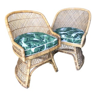 Vintage Boho Chic Custom Upholstered Wicker Chairs-Pair For Sale