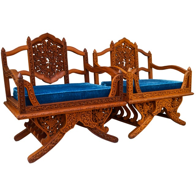 Anglo-Indian Anglo-Indian Carved Rosewood Chairs, Pair For Sale - Image 3 of 9
