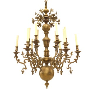 119th Century Style Continental Dutch Brass Chandelier For Sale