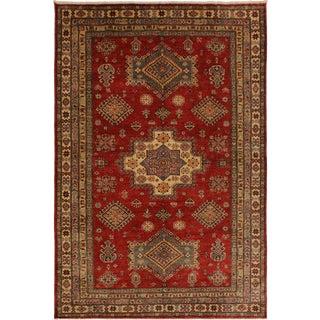 Super Kazak Garish Kareen Red/Tan Wool Rug - 5'6 X 8'2 For Sale