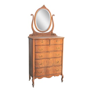 1900s Antique American Tiger Oak Tall Serpentine Highboy With Mirror For Sale