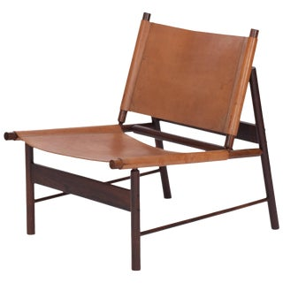 1955 Brazilian Rosewood and Cognac Leather Lounge Chair by Jorge Zalszupin For Sale